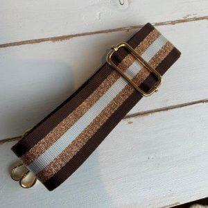 Bag strap brown & bronze stripe