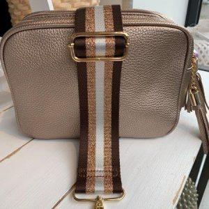 Double zipper cross body bag in bronze