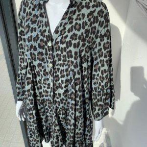 Blue leopard tiered dress