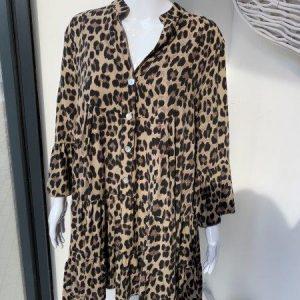 Mocha leopard tiered dress