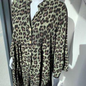 Khaki leopard tiered dress