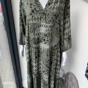 Khaki autumnal maxi dress