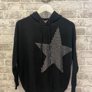 Black knitted star hoodie