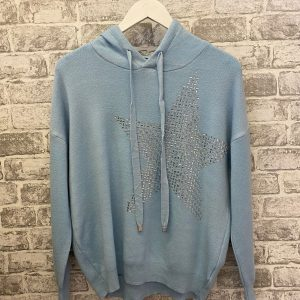 Blue knitted star hoodie