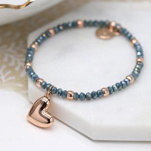 Rose gold bead & blue faceted bead bracelet