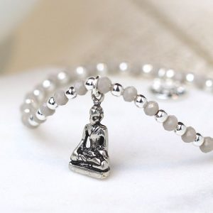 Silver plated grey bead bracelet with buddha