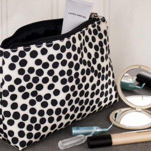 Black & white spot wide make up bag