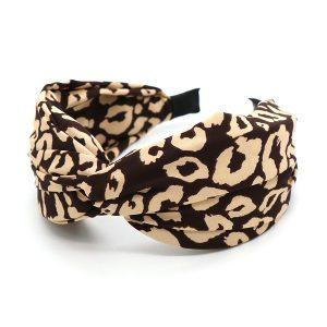 Beige abstract animal print headband