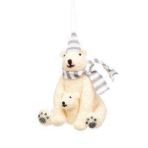 Polar bear with baby felt decoration