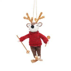 Deer on skis felt decoration