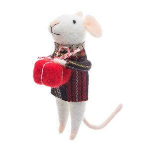 Tartan mouse standing felt decoration