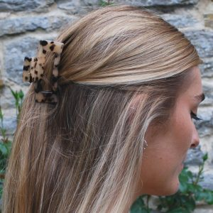 Brown tortoise shell claw clip