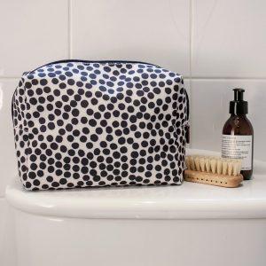 Black & white large spot cosmetic bag
