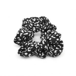 Black & white scrunchie small leopard
