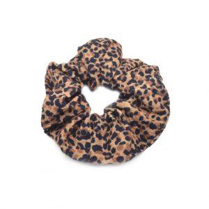 Brown scrunchie small leopard