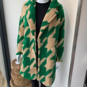 Green contrast print teddy coat
