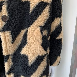 Black contrast print teddy coat