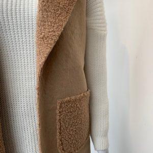 Beige borg lined two pocket waistcoat