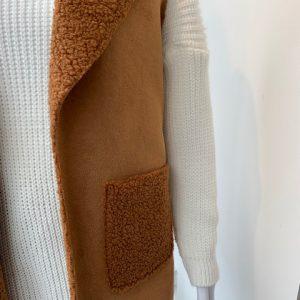 Tan borg lined two pocket waistcoat