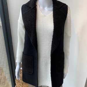 Black borg lined two pocket waistcoat